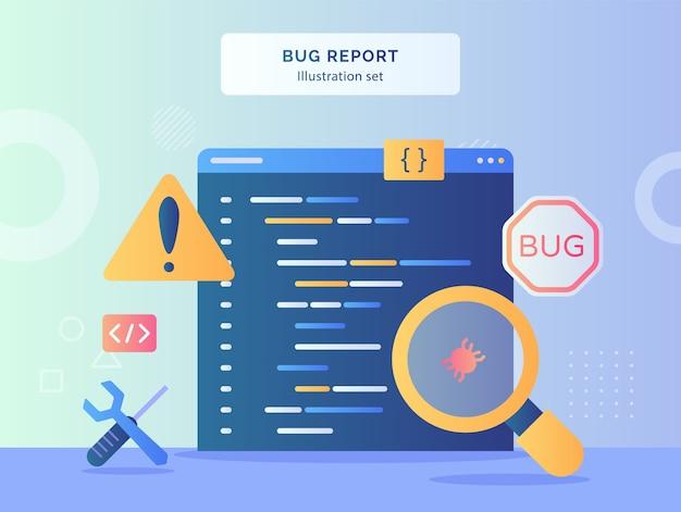 버그 보고서 그림 설정 플랫 스타일 경고 기호 렌치 드라이버의 데이터 컴퓨터 배경에 버그를 확대합니다.