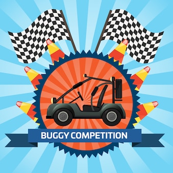 Buggy car competition banner with checkered flag