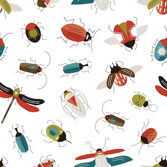 Bugs and beetles seamless pattern.