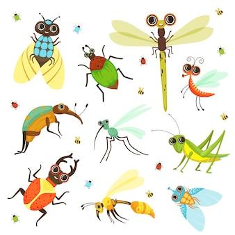 Жуки, бабочки и другие насекомые в мультяшном стиле