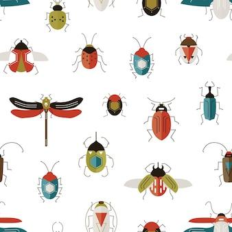 カラフルなシームレスパターンのバグ。カブトムシ、トンボ、てんとう虫