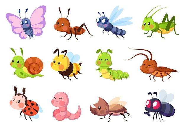 Bugs creatures bee and ladybug