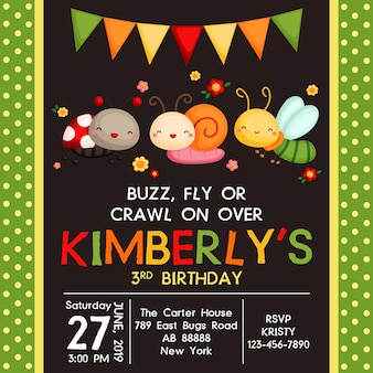 Bugs cute birthday invitation