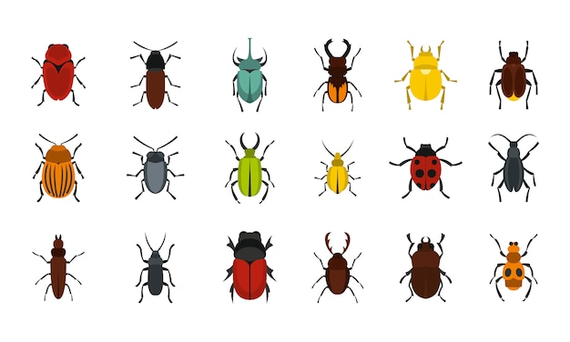 Bugs icon set. flat set of bugs vector icons collection isolated