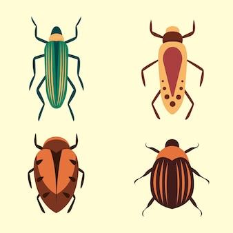 白い背景で隔離のwebデザインのバグアイコン。漫画のスタイルで設定されたバグと昆虫。