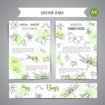 Bugs insects hand drawn banner pest control concept