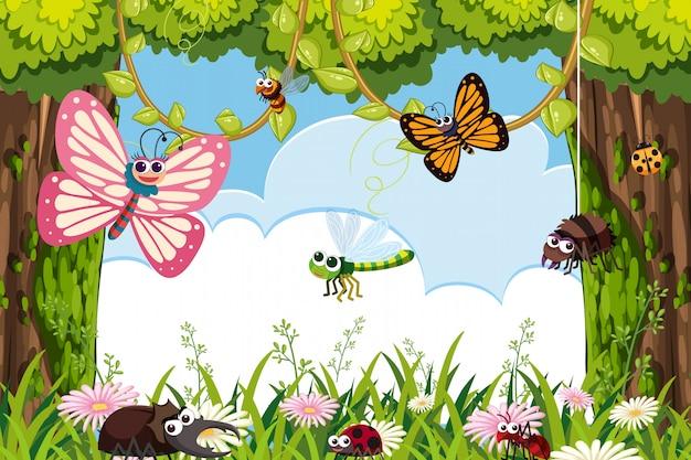 Bugs in jungle scene