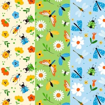 Set di pattern di foglie e insetti