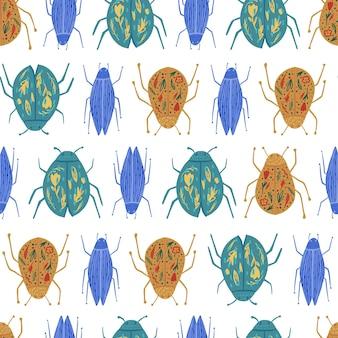 Бесшовный узор из ошибок, изолированные на белом фоне. смешные обои жук. геометрический орнамент насекомых.