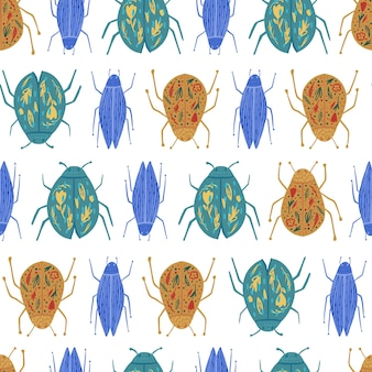 Bugs seamless pattern isolated on white background. funny beetle wallpaper. geometric insect ornament.
