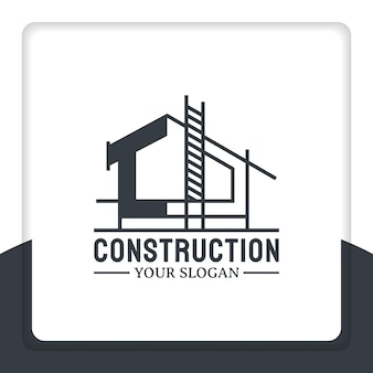 Построить новый дом логотип дизайн вектор реконструкция и ремонт