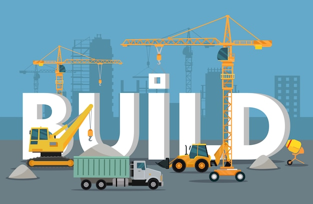 Build banner concept in flat style modern building