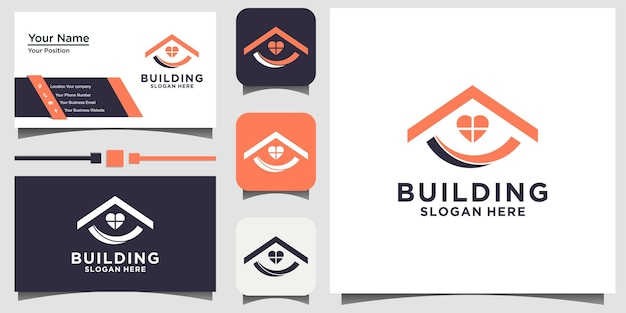 빌드 홈 부동산 로고 디자인 벡터 브랜딩 템플릿 명함