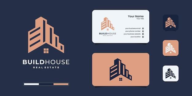 빌드 하우스 로고 디자인 영감. 로고 디자인 템플릿에 대한 홈 빌드 개요
