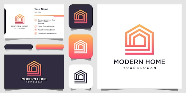 ラインアートスタイルで家のロゴデザインを構築します。ロゴと名刺デザインのホームビルド抽象