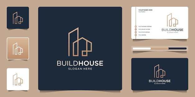 Build house logo with line art simple and elegant. creative real estate logo and business card template.