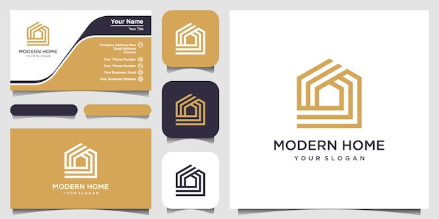라인 아트 스타일로 집 로고를 구축하십시오. 로고 및 명함 디자인에 대 한 홈 빌드 개요