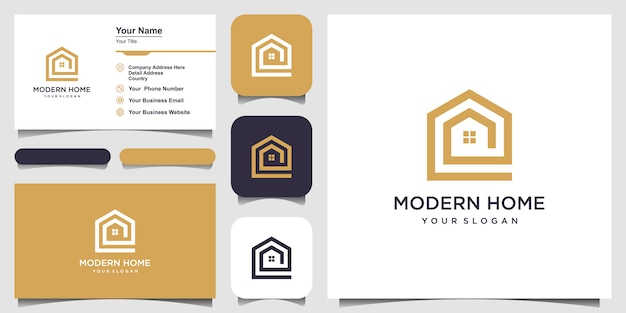 Построить дом логотип в стиле арт-линии. домашняя страница аннотация для логотипа и дизайна визитной карточки