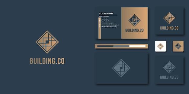 라인 아트 스타일로 하우스 로고를 만드세요. 로고 및 명함 디자인을 위한 홈 빌드 개요