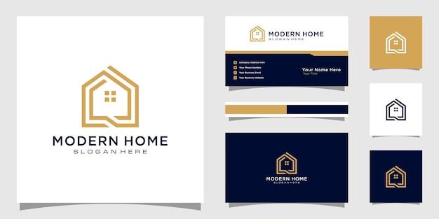 라인 아트 스타일로 집 로고를 만드십시오. 로고 및 명함 디자인을위한 홈 빌드 개요