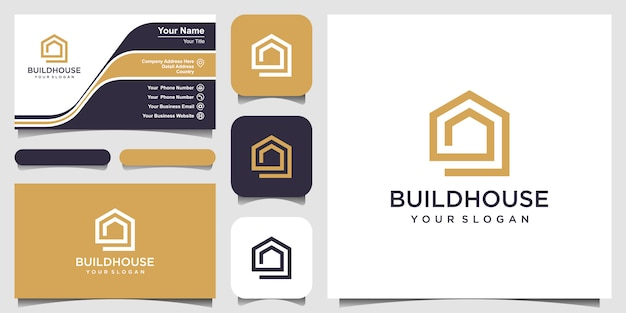 Build house logo  with line art style. home build abstract for logo and business card design Premium Vector
