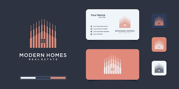 Build house logo with line art style. home build abstract for logo design
