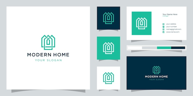 Build house logo with line art style. home build abstract for logo inspiration