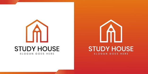 Build house with pencil icon line art logo design for study house or house, school,university,college
