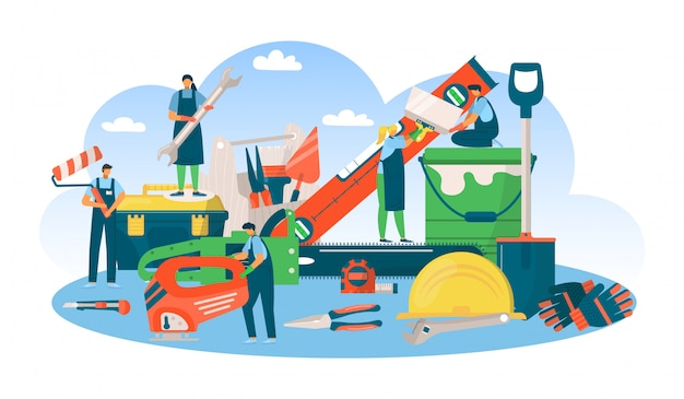 Build  professional tool concept, man woman people at repair work  illustration.  equipment for builder character industry. engineer occupation service, construction job.