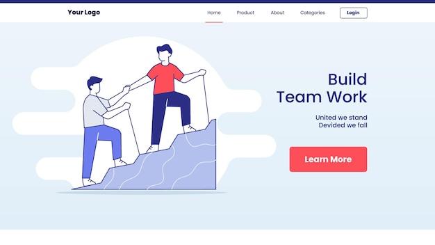 Build team work concept for website template landing homepage design