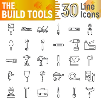 Build tools line icon set, construction symbols collection