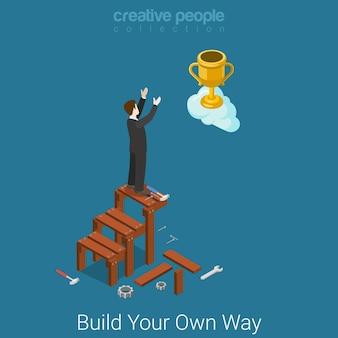 Build you own way to success flat isometric business concept  businessman building stairs to the cup trophy in clouds.