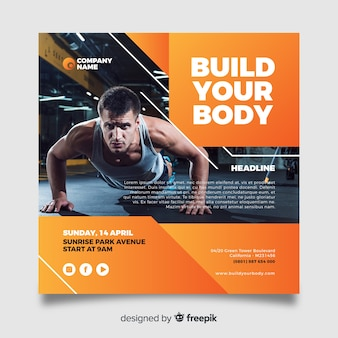 Build your body sport flyer with image