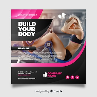 Build your body sport flyer with photo