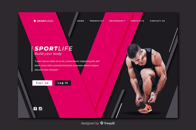 Build your body sport landing page