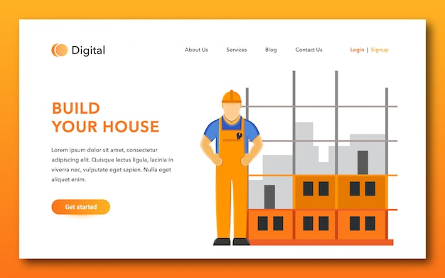 Build your house landing page design