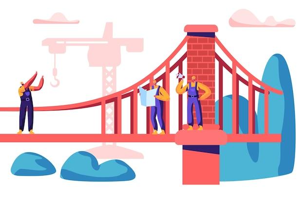 Строитель и инженер строят мост с помощью строительного крана. группа в составе ворота здания с кирпичом. рабочий проект архитектуры со строительной техникой плоский мультфильм векторные иллюстрации