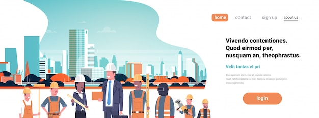 ビルダーの建築家の労働者、ミックスレースチーム、ビジネスの男性、女性、建物、ヘルメット、都市の建物、都市景観のランディングページ