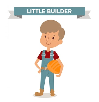 Builder boy with car rude isolated