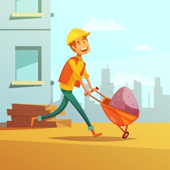 Builder and building cartoon background