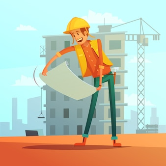 Builder and building plan cartoon background