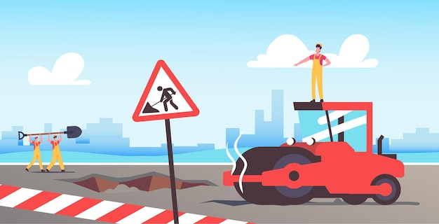 도로 수리 및 건설 현장에서 아스팔트 포장 롤러 기계를 운전하는 빌더 캐릭터