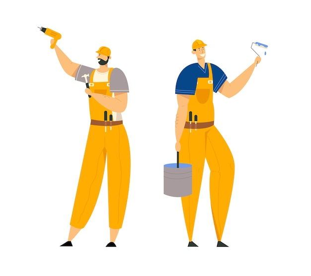 Builder characters in workwear. construction engineers with building equipment tools. architect repairman, painter, builders.