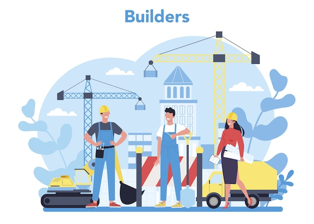 Builder concept. professional workers constructing home with tools and materials. process of house building. city development concept. isolated flat vector illustration