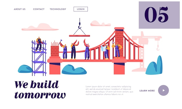 Строитель построит кирпичный мост с помощью строительного крана и посадочной страницы молотка. архитектор строит ворота. инженер на веб-сайте или веб-странице объекта лестницы. плоский мультфильм векторные иллюстрации