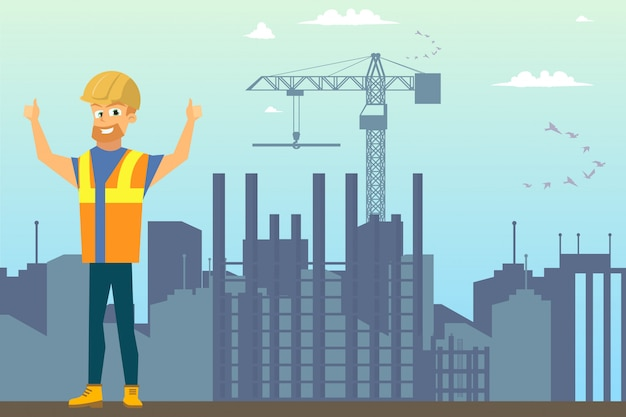 Builder on construction site flat vector concept