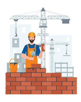 Builder or construction worker character on construction site with building equipment and crane profession people concept
