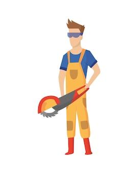 Строитель. строительный рабочий с профессиональным оборудованием во время строительной деятельности.