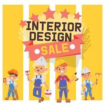Builder constructor interior design children character building construction illustration