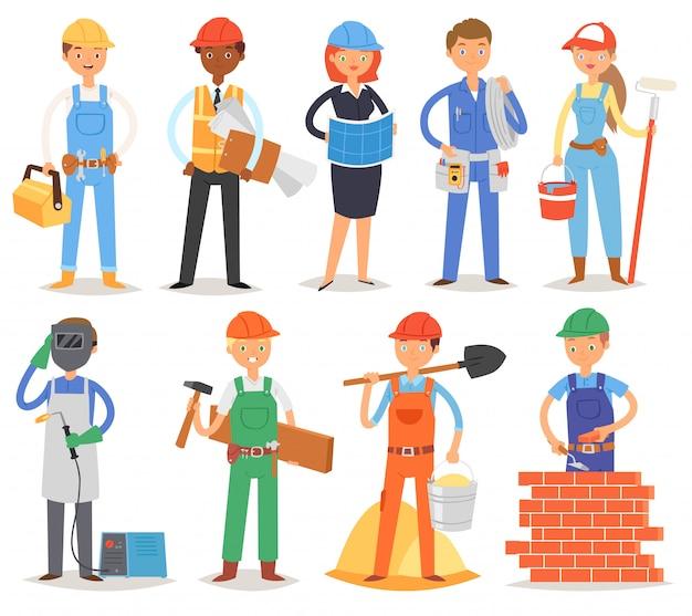 Строитель конструктор люди персонаж строительная конструкция для новостройки иллюстрации